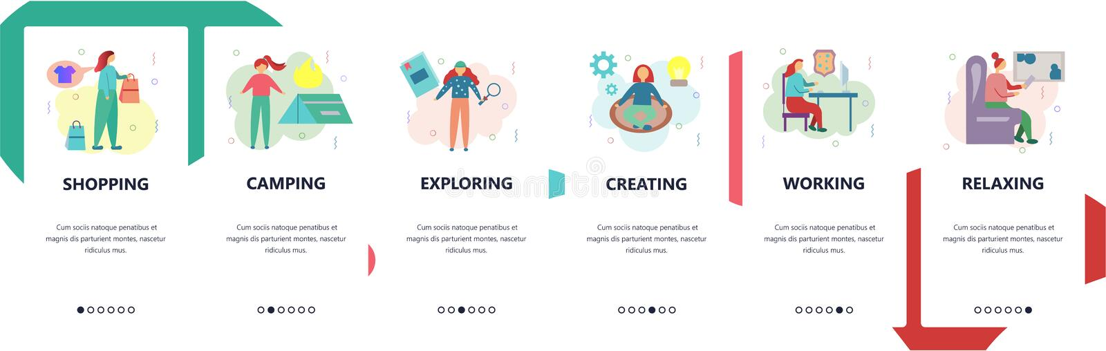 Web site onboarding screens. People activity. Shopping, camping, reading, wotking. Menu vector banner template for. Website and mobile app development. Modern vector illustration