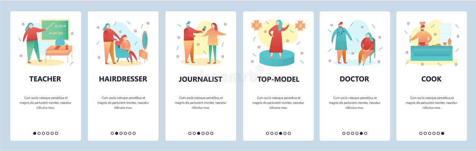 Web site onboarding screens. People of different professions, teacher, doctor, chef. Menu vector banner template for stock illustration