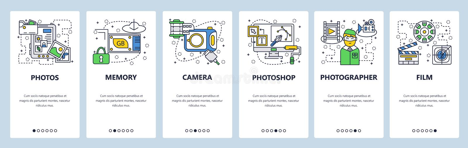 Web site onboarding screens. Photo camera, memory card, photos editing software. Menu vector banner template for website vector illustration