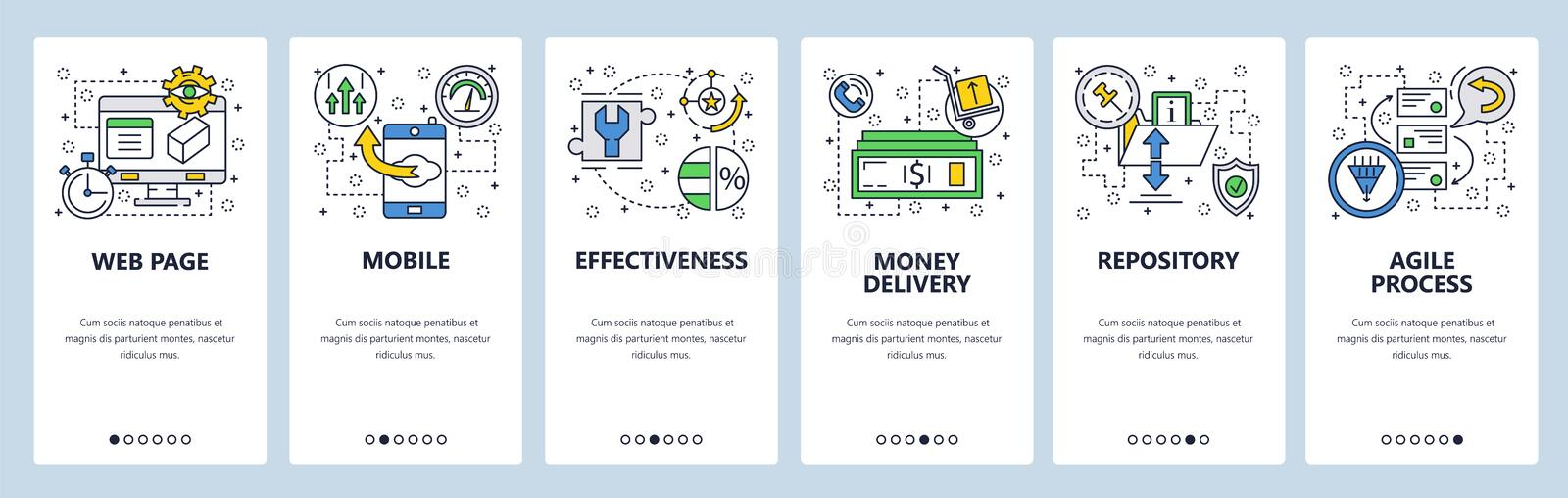 Web site onboarding screens. Repository, agile process . Menu vector banner template for website and mobile app. Development. Modern design linear art flat royalty free illustration