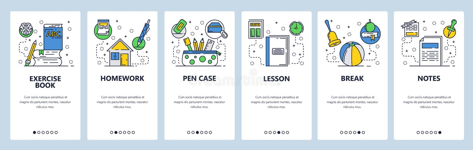 Web site onboarding screens. School education accessories. Homework and exercise book. Menu vector banner template for. Website and mobile app development vector illustration