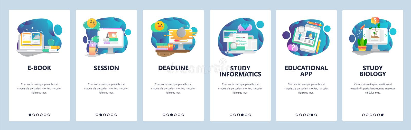 Web site onboarding screens. School education and e-learning. Menu vector banner template for website and mobile app. Development. Modern design flat stock illustration