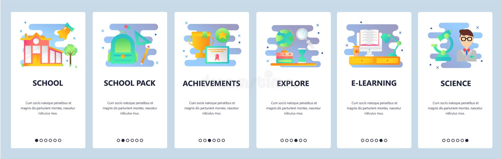Web site onboarding screens. School education, science and e-learning. Menu vector banner template for website and. Mobile app development. Modern design flat royalty free illustration