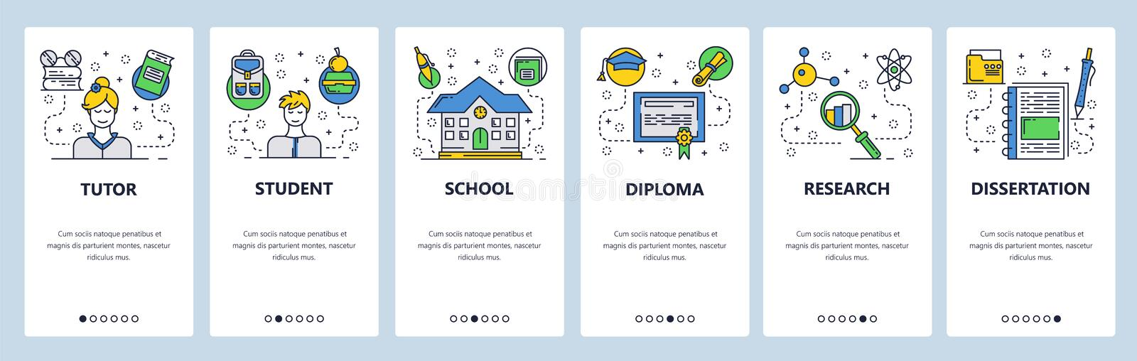 Web site onboarding screens. School education, student and tutor. Graduation and diploma research. Menu vector banner. Template for website and mobile app stock illustration