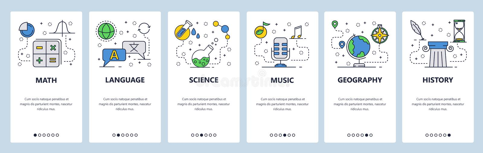 Web site onboarding screens. School education subjects. Math, science, language, history. Menu vector banner template. For website and mobile app development royalty free illustration