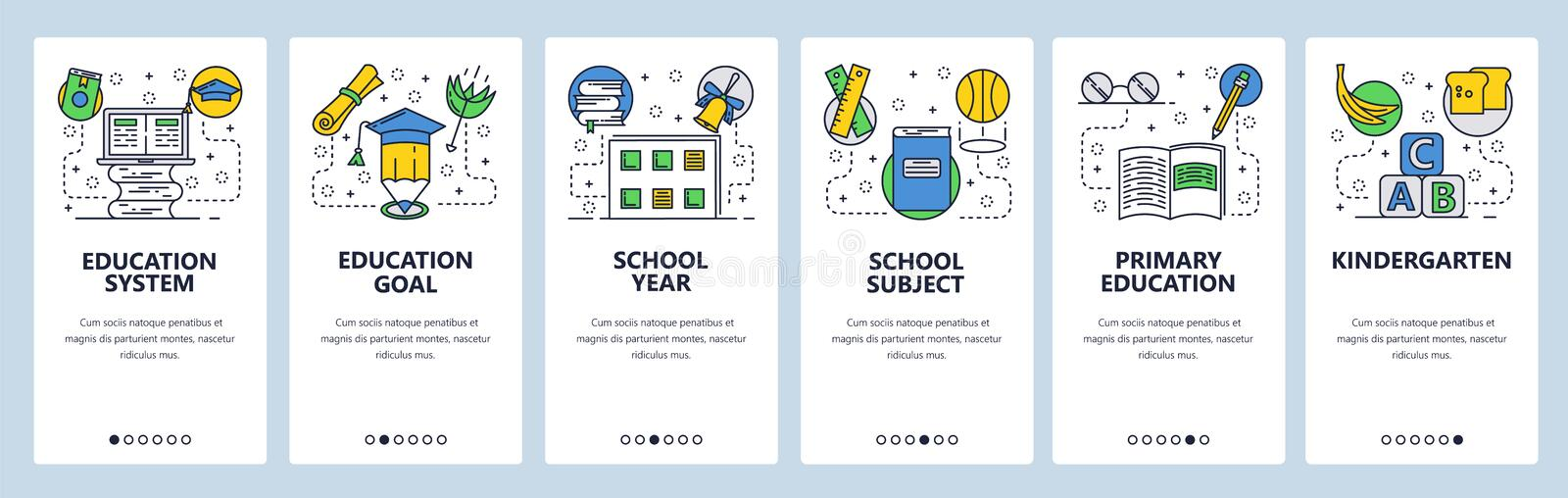 Web site onboarding screens. School education system, primary school and kindergarten. Menu vector banner template for. Website and mobile app development royalty free illustration