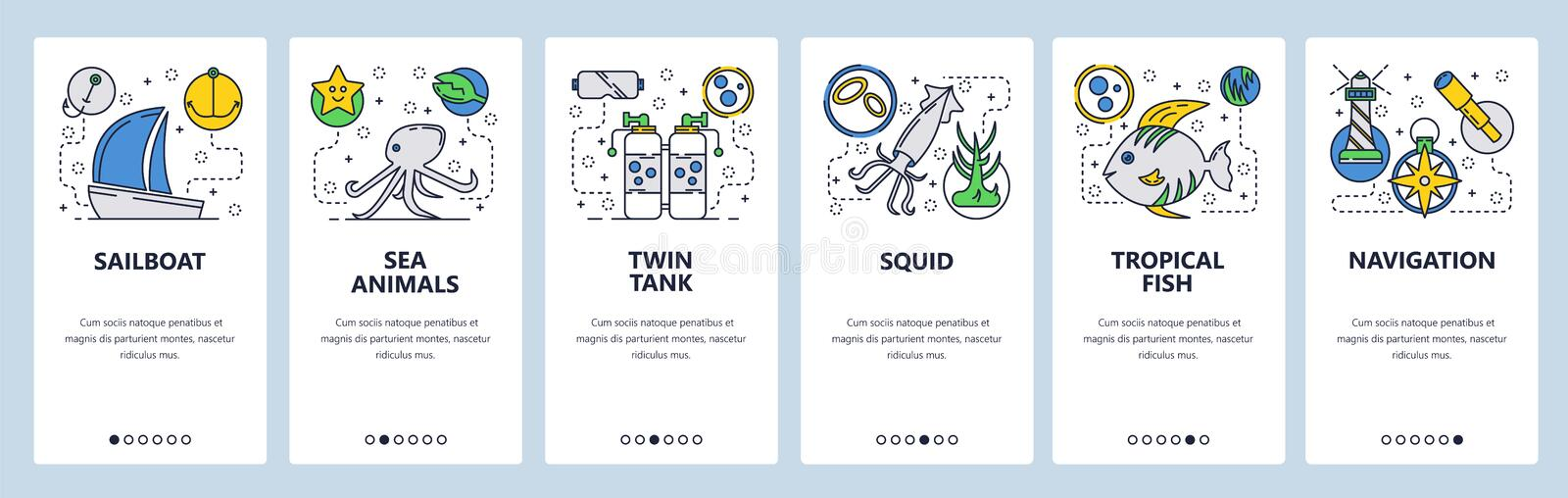 Web site onboarding screens. Sea Travel and beach vacation. Scuba diving and underwater animals. Menu vector banner. Template for website and mobile app royalty free illustration