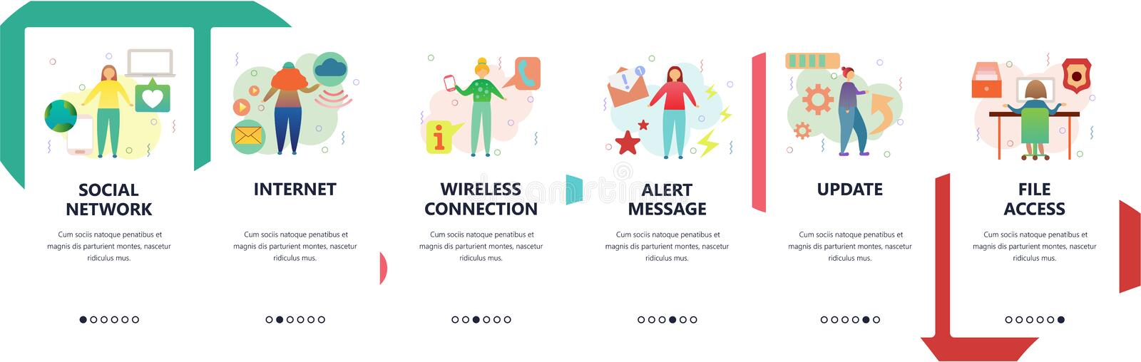 Web site onboarding screens. Social network, wireless internet connection, file access and update. Menu vector banner. Template for website and mobile app vector illustration