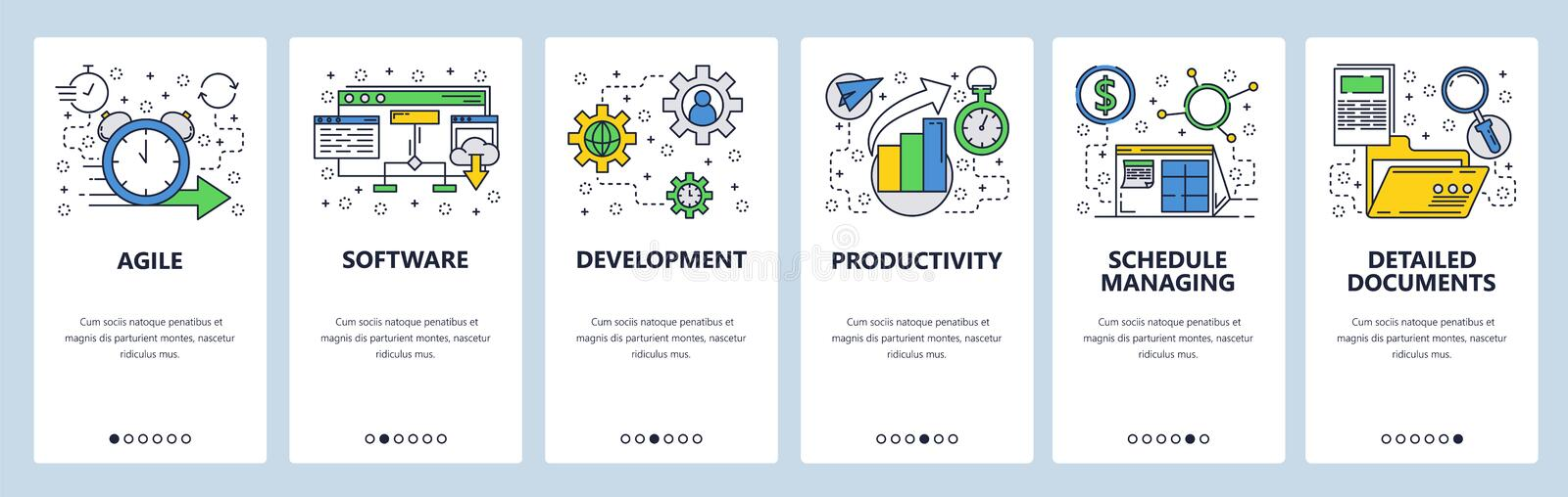 Web site onboarding screens. Software development and team management. Menu vector banner template for website and stock illustration