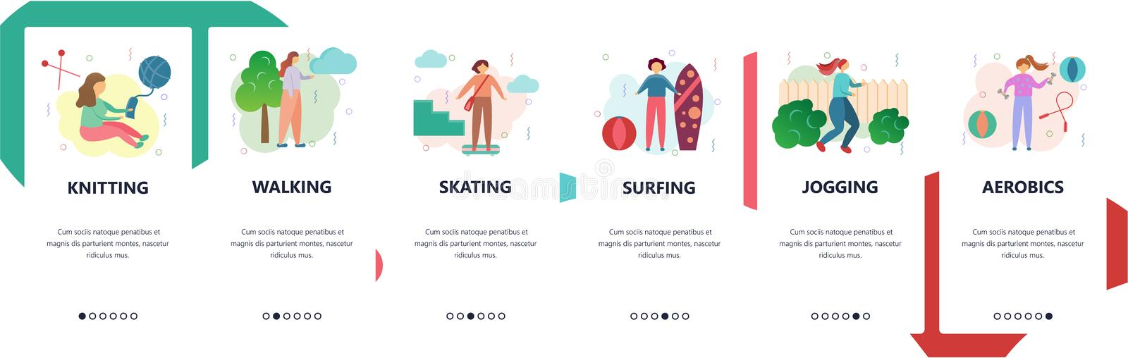 Web site onboarding screens. Sport, hobby and leisure activities. Menu vector banner template for website and mobile app. Development. Modern design flat vector illustration