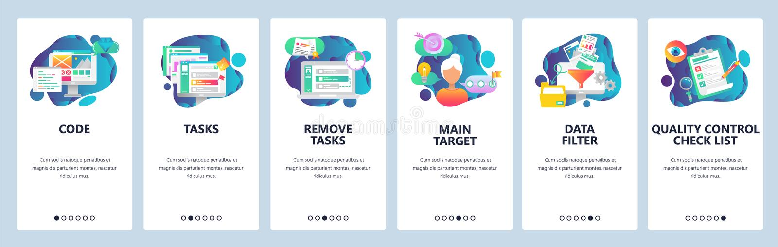 Web site onboarding screens. Task management, quality control and data filtering. Menu vector banner template for. Website and mobile app development. Modern stock illustration