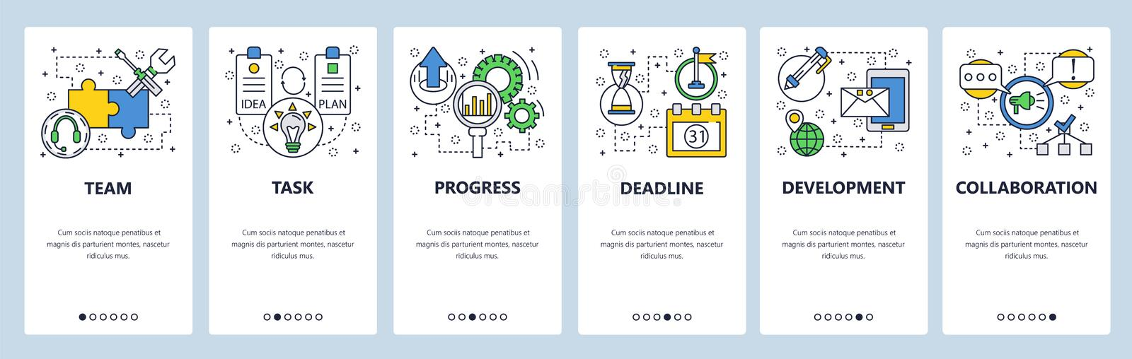 Web site onboarding screens. Task progress and deadline. Menu vector banner template for website and mobile app royalty free illustration