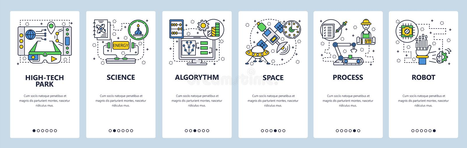 Web site onboarding screens. Technology, industrial robot, science and outer space. Menu vector banner template for vector illustration