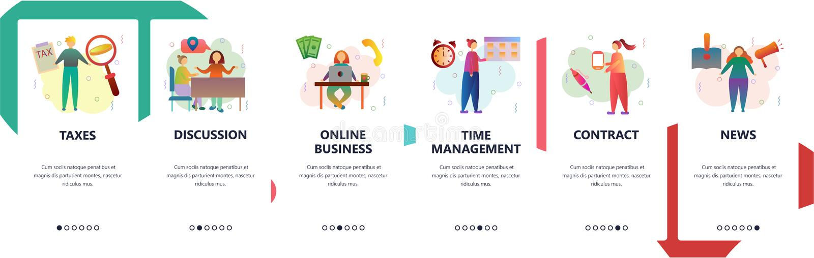 Web site onboarding screens. Time management, online business and taxes. Menu vector banner template for website and. Mobile app development. Modern design flat royalty free illustration