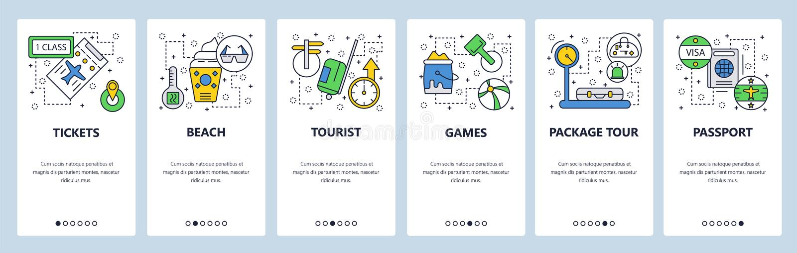 Web site onboarding screens. Travel and beach vacation, passport, visa, tickets. Menu vector banner template for website stock illustration
