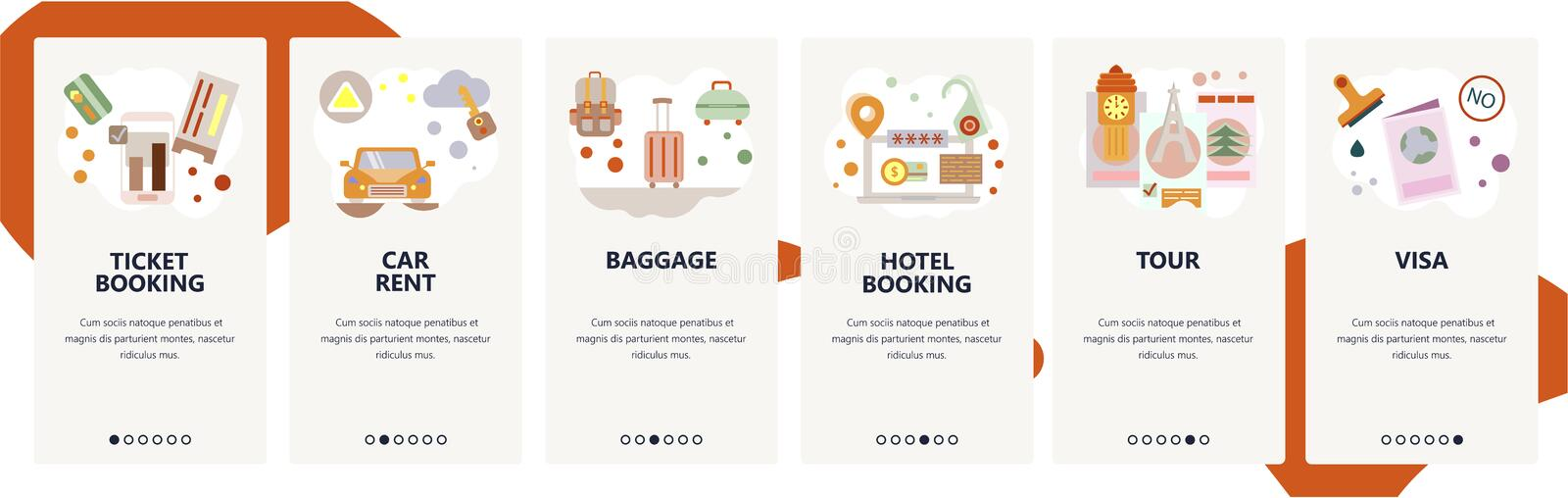 Web site onboarding screens. Travel planning, hotel and flight tickets booking, car rent and sightseeing tour. Menu. Web site onboarding screens. Travel planning royalty free illustration