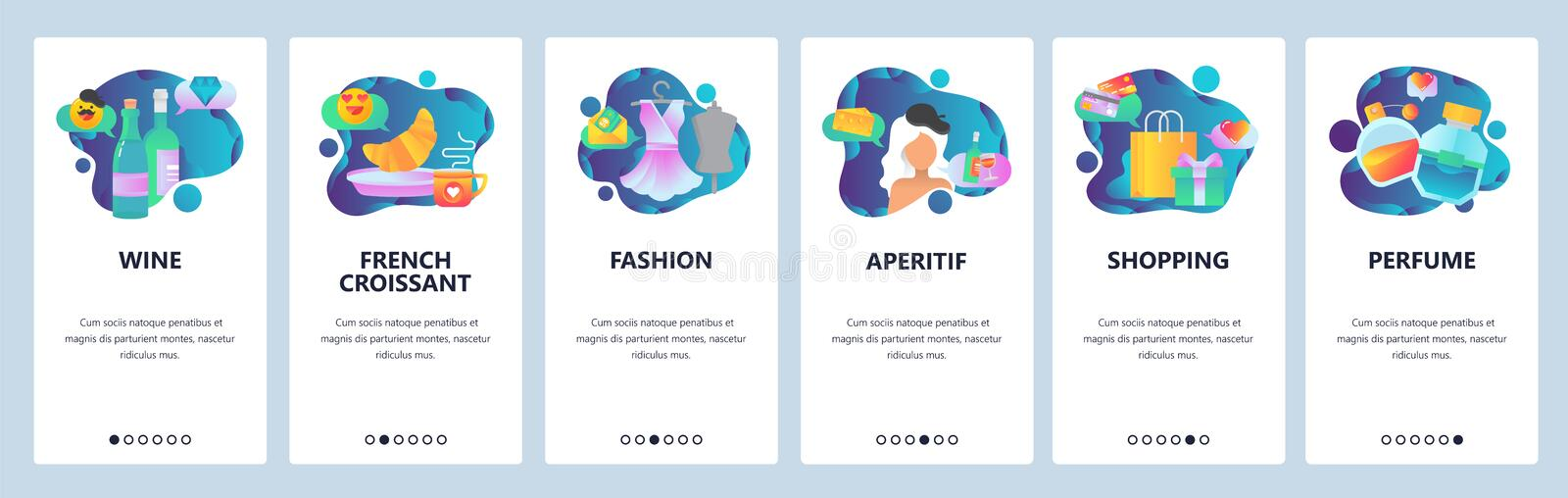 Web site onboarding screens. Vacation in Paris, France. French breakfast, shopping, fashion and wine. Menu vector banner. Template for website and mobile app vector illustration