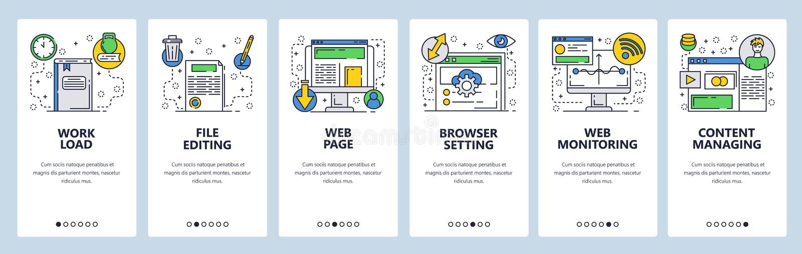 Web site onboarding screens. Web page content and internet monitoring. Computer online services. Menu vector banner. Template for website and mobile app stock illustration