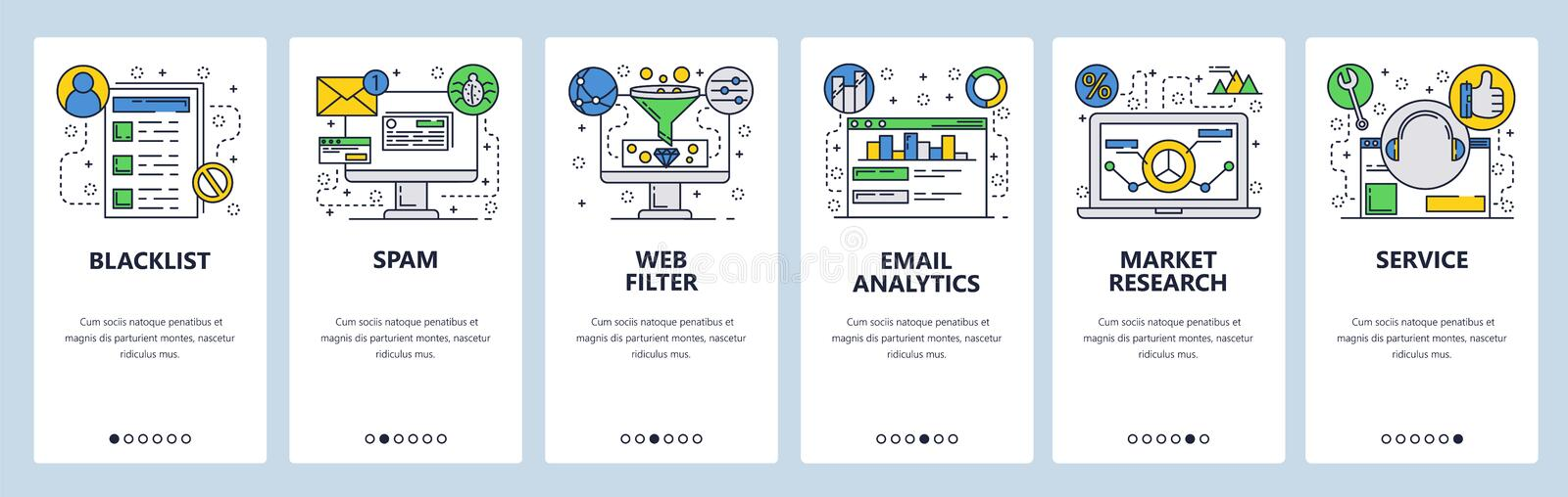 Web site onboarding screens. Web services, spam, email analyrics and filtering. Market research. Menu vector banner. Template for website and mobile app royalty free illustration