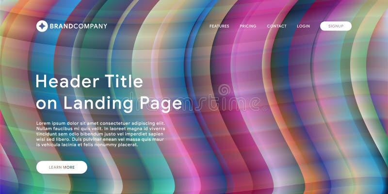 Web site ou página móvel da aterrissagem do app com ilustração do projeto e do inclinação geométricos mínimos coloridos do fundo  imagens de stock royalty free
