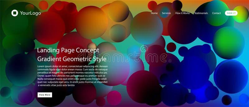 Web site ou página móvel da aterrissagem do app com ilustração do projeto e do inclinação geométricos mínimos coloridos do fundo  ilustração do vetor