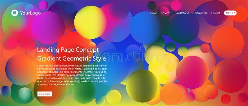 Web site ou página móvel da aterrissagem do app com ilustração do projeto e do inclinação geométricos mínimos coloridos do fundo  ilustração stock