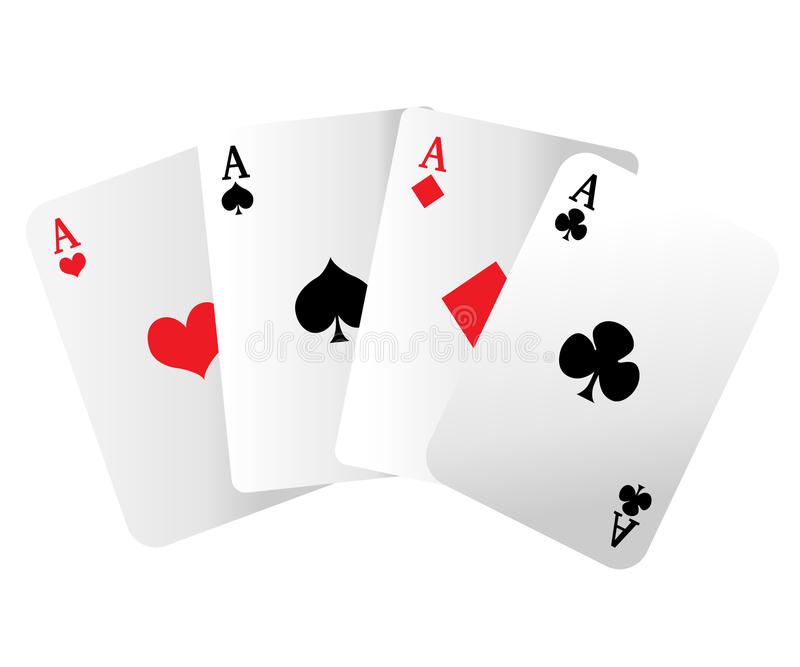 Web site page and mobile app design element. A winning poker hand of four aces playing cards suits on white. stock illustration