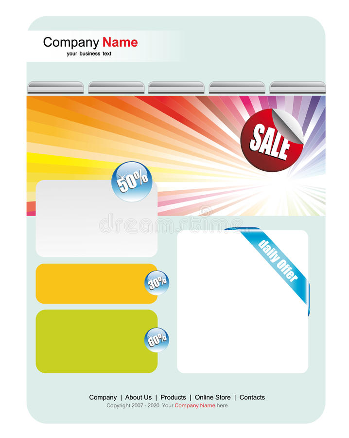 Web Site Sales Template. Colorful Web Site Sales Template royalty free illustration