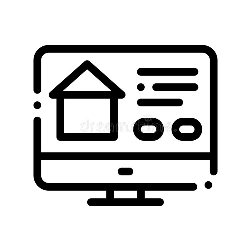 Web Site For Search Estate Vector Thin Line Icon royalty free illustration