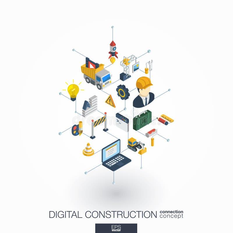 Web site sob ícones integrados construção da Web 3d Conceito isométrico da rede de Digitas ilustração royalty free
