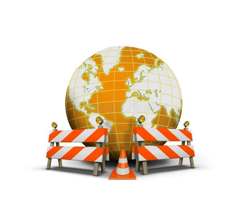 Web site sob a construção com globo e barreira ilustração stock