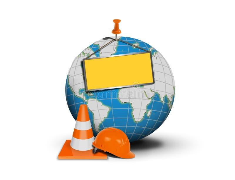 Web site sob a construção com globo e placa vazia ilustração royalty free