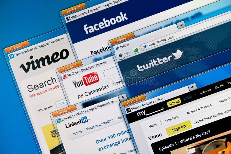 Web site sociais dos media imagens de stock