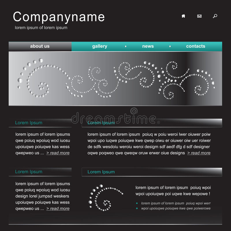 Web site template. Header page stock illustration