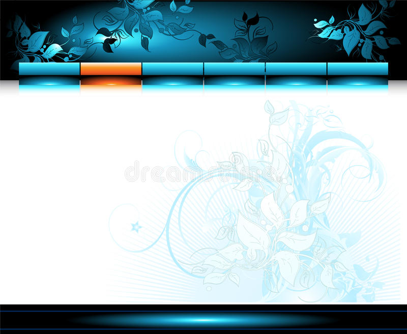 Web site template. With floral elements, this illustration may be useful as designer work vector illustration