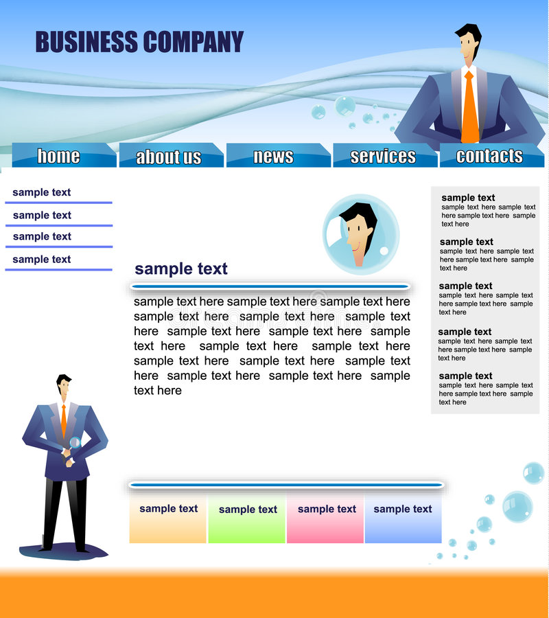 Web site template. Ready-made web site template for companies stock illustration