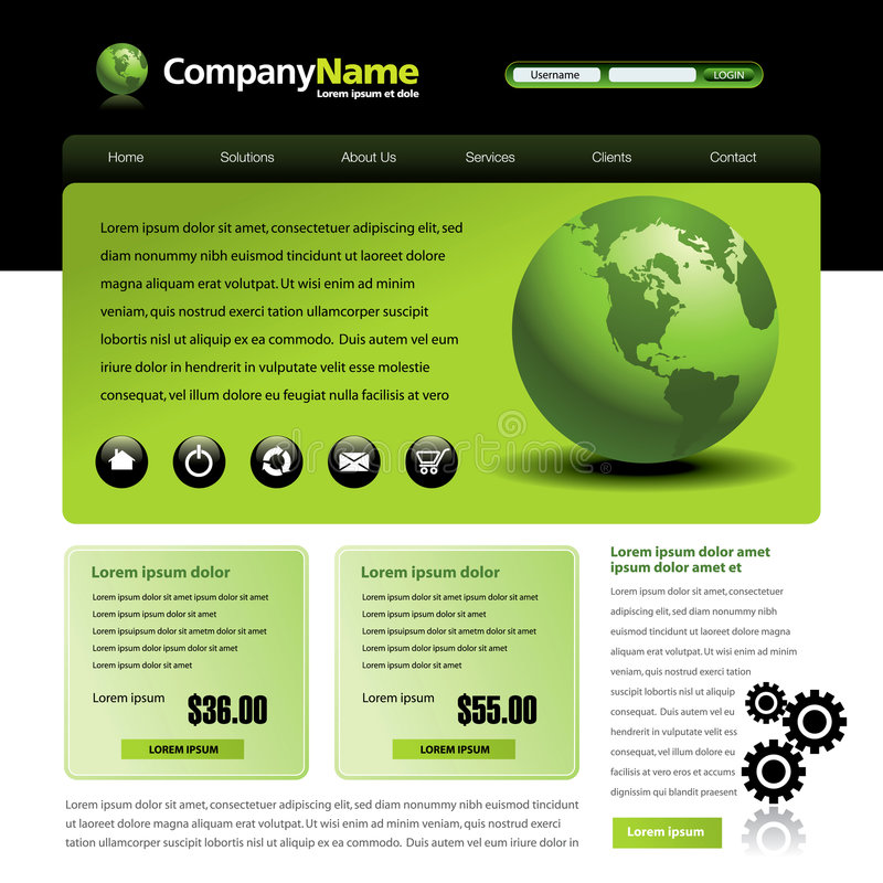 Web site template. A website template in green and black with the earth stock illustration
