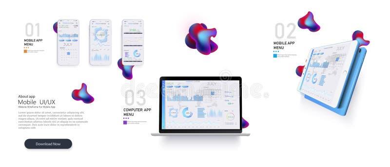 Web site template. Forex market. Binary option. Online statistics and data Analytics.Digital money market, news vector illustration