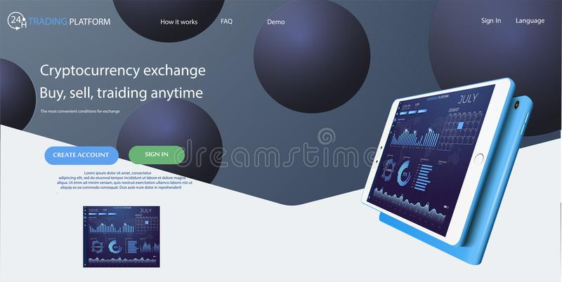 Web site template. Forex market, news and analysis. Binary option. Application screen for trading. Candles and indicators. HUD UI for business app vector illustration