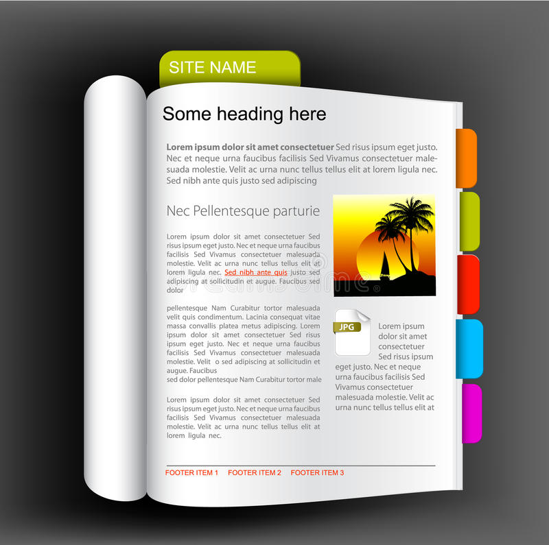Web site template - open book. With colorful bookmarks vector illustration