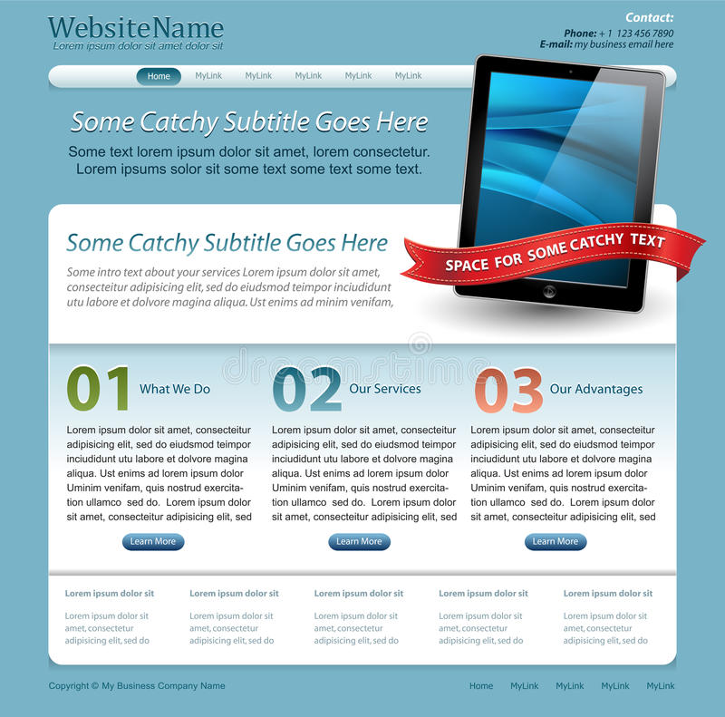 Web Site Template With Touchscreen Tablet Stock Photo