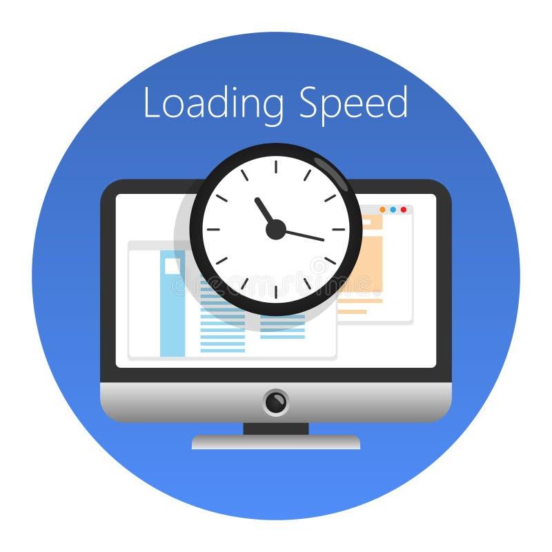 Web site, velocidade de carregamento ou ícone trabalhado do tempo Ilustração do vetor ilustração royalty free