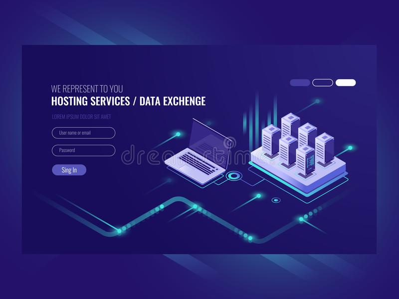 Web sites hosting services, server room rack, data center, data searching, network administration isometric vector vector illustration