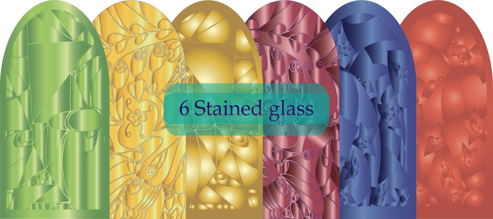Six stained glass abstract three-dimensional on a white background vector illustration