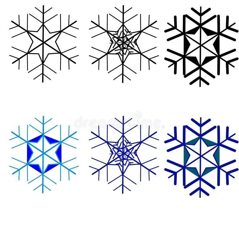 web Sneeuwvlokken voor ontwerpkunstwerk E r stock illustratie