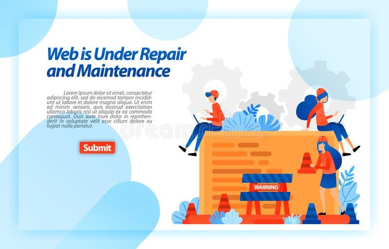 Web sob o reparo e a manutenção Web site em processo do programa do reparo e de melhoria para uma experiência melhor Vetor Illust ilustração stock