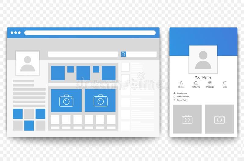 Web social de la red y navegador móvil de la página Concepto de ejemplo social del vector del interfaz de la página stock de ilustración