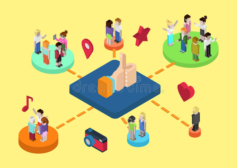 Web social em linha isométrica lisa da conexão dos meios 3d infographic ilustração do vetor