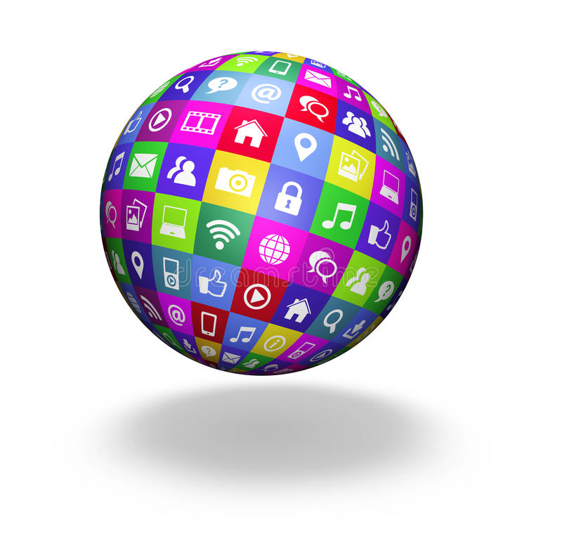 Web Social Media Globe. Web and Internet social media and social network concept with technology icons and symbol on a colorful globe on white background stock illustration