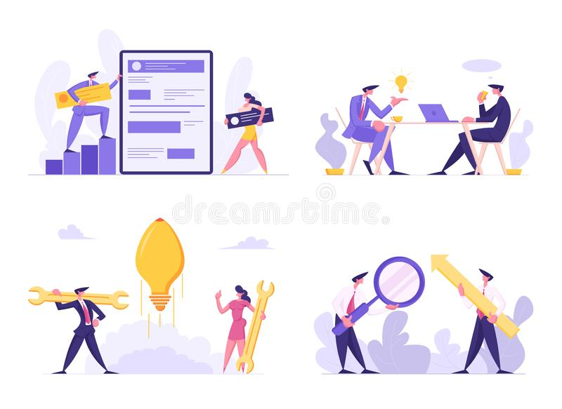 Web Software Development, Business Meeting, Start Up Idea, Data Analysing Concept Set. Developer Characters. Build Website with Social Media, Light Bulb Rocket vector illustration